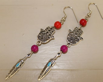 Long  natural stone earrings, tibetan silver charms, bohemian look, boho style