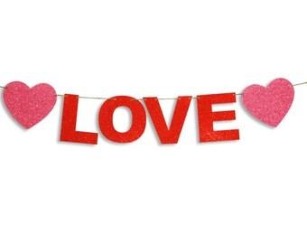 LOVE Garland, Happy Valentines Day Banner, Valentines Day Banner, Valentines Day decoration