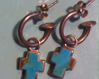 Beautiful solid sterling silver and turquoise cross  earrings religious earrings Christian earrings