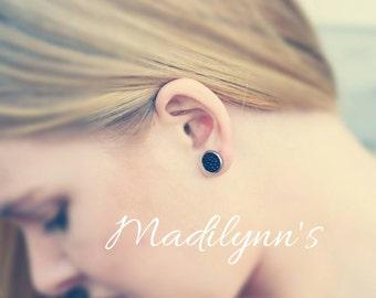 Hypoallgenic black pave earrings
