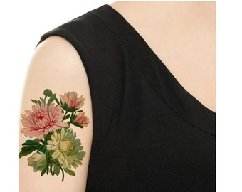 Temporary Tattoo - Chrysanthemum / Rose and Bells Vintage Flower Tattoo - Various Patterns and Sizes