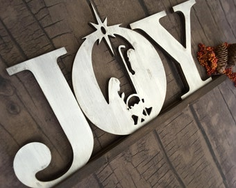 JOY Sign, Christmas Sign, Holiday Sign