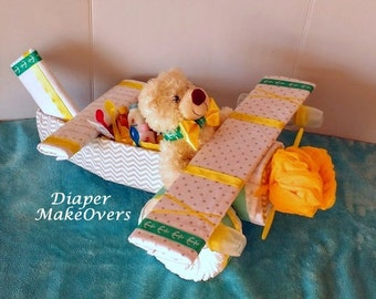 Airplane Diaper Cake - Yellow and Turquiose - Diaper Cake - Baby Shower Gift or Centerpiece - Baby Boy, Baby Girl, Gender Neutral