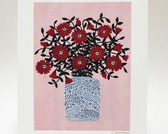 Red Flowers, Art Print