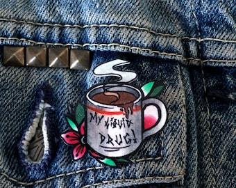 Original Coffee Mug handmade/hand painted traditional tattoo style 3cm acrylic plastic lapel pin