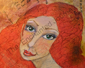 Redhead, looked for patterns in her life, mixed media
