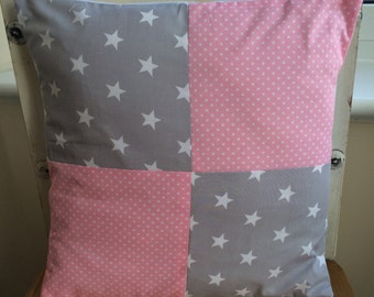 """Rose & Hubble Grey Star Pink Dotty 16"""" Cushion Cover Girls/Baby Bedrooom/Playroom"""