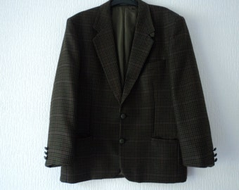 REDUCED - French vintage men's green tweed jacket   (03286)