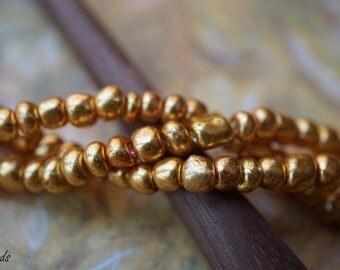 Golden Seed Beads, Rocailles, Czech Beads