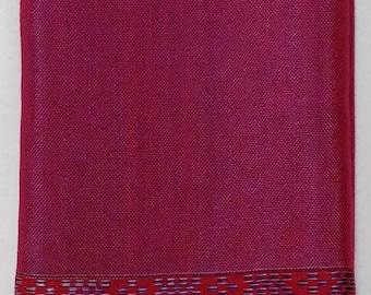 Women's 100% Handwoven Vibrant Fuschia Ethiopian Cotton Scarf w/ Decorative Design