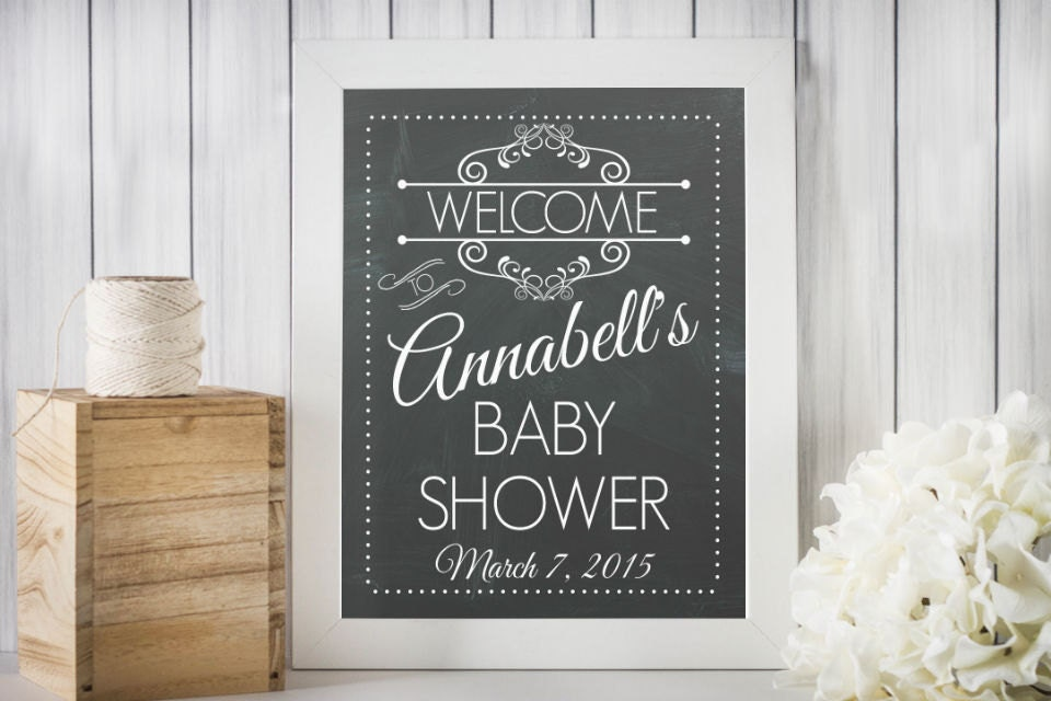 personalized baby shower welcome sign printable vintage