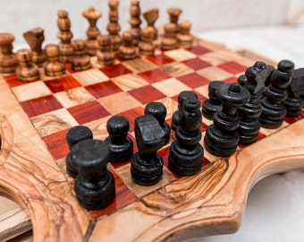 Big Chess,wood chess , natural wood chess , olive wood chess , chess small size , Tunisian chess, olive wood rustic chess.