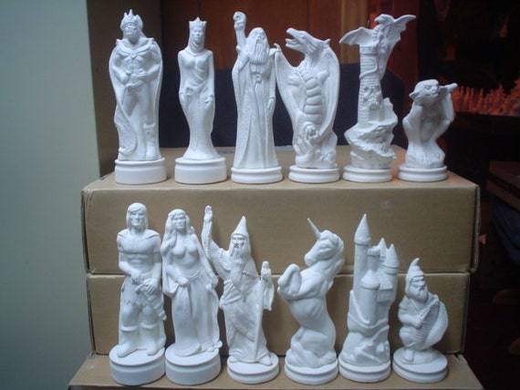 Ceramic bisque doc holliday good evil 64 piece chess set - Ceramic chess sets for sale ...
