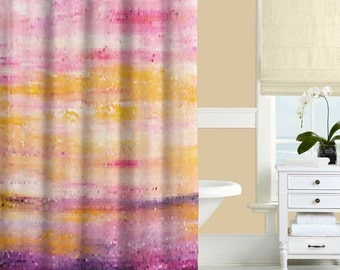 Art shower curtain brown shower curtain beige cream abstract for Purple and yellow bathroom ideas