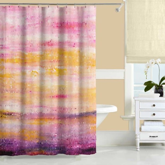 Pink Yellow Purple Shower Curtain Long Shower Curtain Mosaic
