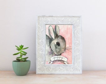 Bunny CUSTOM Pet Portrait Watercolor Illustration