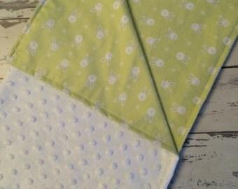 Girl's Baby Blanket, Receiving blanket. Baby Shower Gift, Baby Blanket,  Rabbit Baby Blanket, NICU Incubator Cover, Linus Blanket.