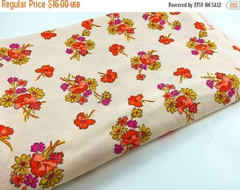 SALE Vintage Fabric Flower Polyester Fabric Pink Orange Yellow Floral Fabric Mod Polyester Fabric Spring Fabric