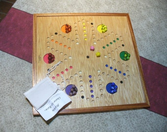 FREE SHIPPING!! 6 player Marble Chase-N-Race - Handmade with Oak or Birch ply trimmed in contrasting hardwood, fancy marbles and storage bag