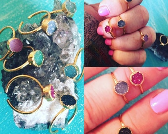 Druzy Mid Finger - Knuckle Rings // Royal Suzie Boho