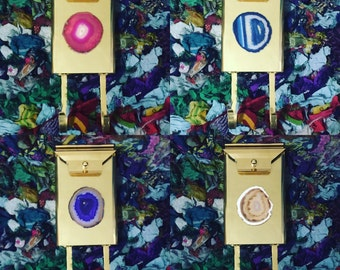 Solid Brass & Agate Mailboxes - Choose your color