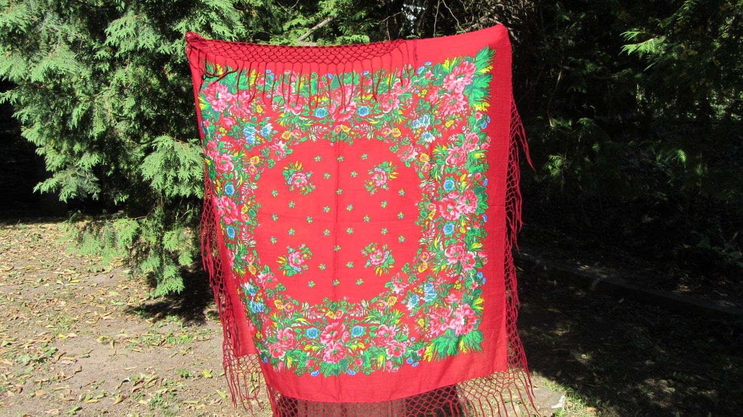 Asian Red Vintage Shawl With Fringes, Japan Floral Red Scarf, japan style shawl,