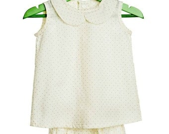 Set child size from 3 months up to...  Short dress with cubrepanal