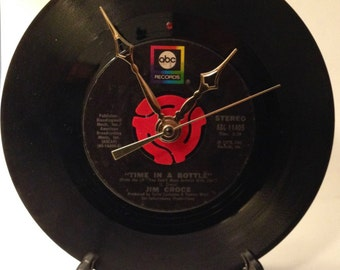 "Recycled JIM CROCE 7"" Record • Song: Time In A Bottle • Record Clock"