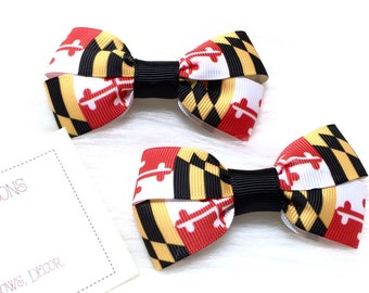 University of Maryland Set of TWO Hair Bows / Barrettes / Clips