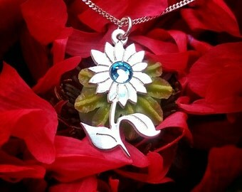 Sterling Silver And Blue Swarovski crystal Sunflower Necklace