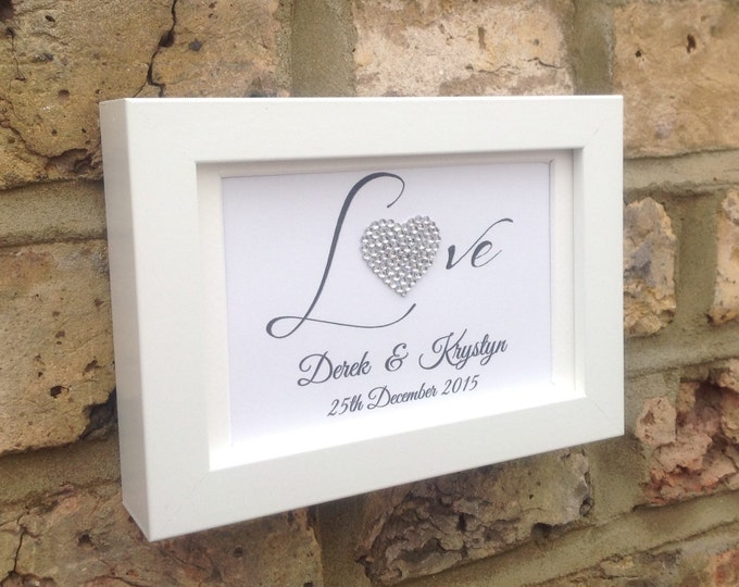 Personalise Love Heart framed print | Crystal heart | Wedding or Anniversary gift