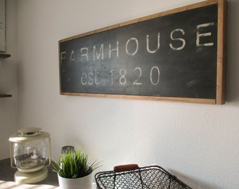 FARMHOUSE SIGN - handpainted; distressed; cottage; wood sign