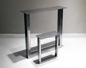 "28"" x 28"" Silver Chrome/Black/Gloss White Steel Metal Dining Table Legs, Desk U Legs SET(2)"