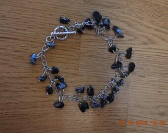 Natural Snow Obsidian Chip Bracelet