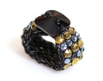 Swarovski ring, Glamour ring, Knitted ring, bespoke ring, semi precious ring, stretch ring, crochet ring, yarn ring, olive green, women ring
