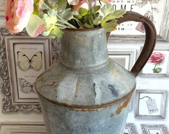JUG. Vintage Rustic Zinc Jug Vase Metal Shabby Chic Rustic Country Cottage Jug Vintage Flower Display Vase Wedding Decor Florist