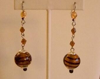 Long Dangle Amber Black Glass Crystal Beaded Pierced Earrings