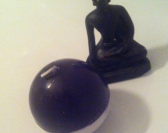 black and white craft candle //  ball // circle // soy candle // colza  //  hand-made // France , decoration Halloween