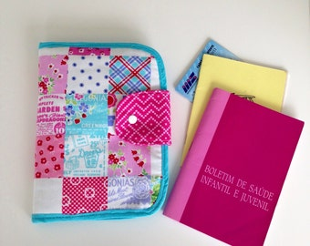 Patchwork baby document case- baby's book cover - children's document pouch-holder-wallet