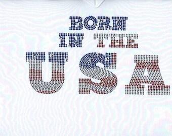Born In USA Rhinestone Shirt