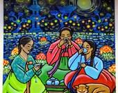 Original acrylic painting: Full moon tea party