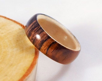 Wood Ring - Cocobolo Ring - Simple Ring - Simple Ring Band - Men's Wood Wedding Band - Wood Rings For Men - Wood Ring Men - Wooden Ring