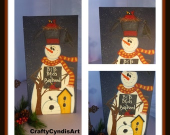 Friendly, Snowman, Winter, Christmas  Birdhouse, Hand painted scene, Winter Season,