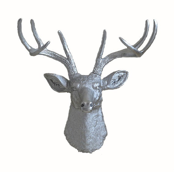 Items similar to silver faux taxidermied deer head wall mount wall hanging deer head wall - Silver stag head wall mount ...