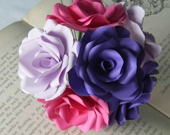 12 x Mixed Paper Flower Roses, Purple, Lilac & Pink Roses Bouquet, Handmade Dozen Roses, Romantic Gift