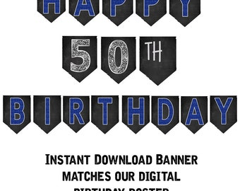 50th Birthday Banner, 50th Birthday Party Decorations, 50th Birthday Party, Printable 50th Birthday Banner, Print Yourself Banner