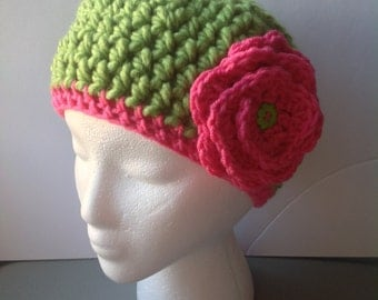 Crochet  baby girl hat, green crochet hat, green and pink crochet baby hat, Christmas gift, chunky  hat, crochet flower