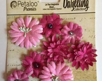 Paper flower, Petaloo Premier Darjeling Collection, pink flowers, 8 pink flowers, flower scrapbook embellishment