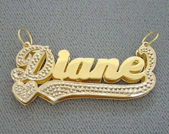 10K or 14K Gold Personalized 3D Double Plates Name Pendant Charm Heart Underneath ND15