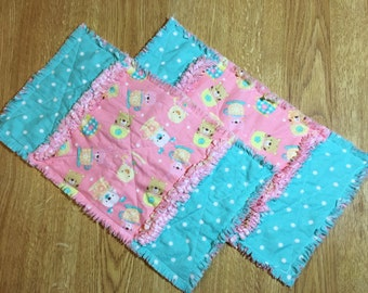 baby burp cloths, rag burp cloths, set of two, teacup animals rag burp cloth, thick burp clothes, flannel burp clothes, baby gift